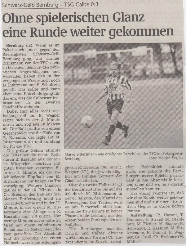 Volksstimme-Bericht vom Pokalspiel des 05. September 1998.