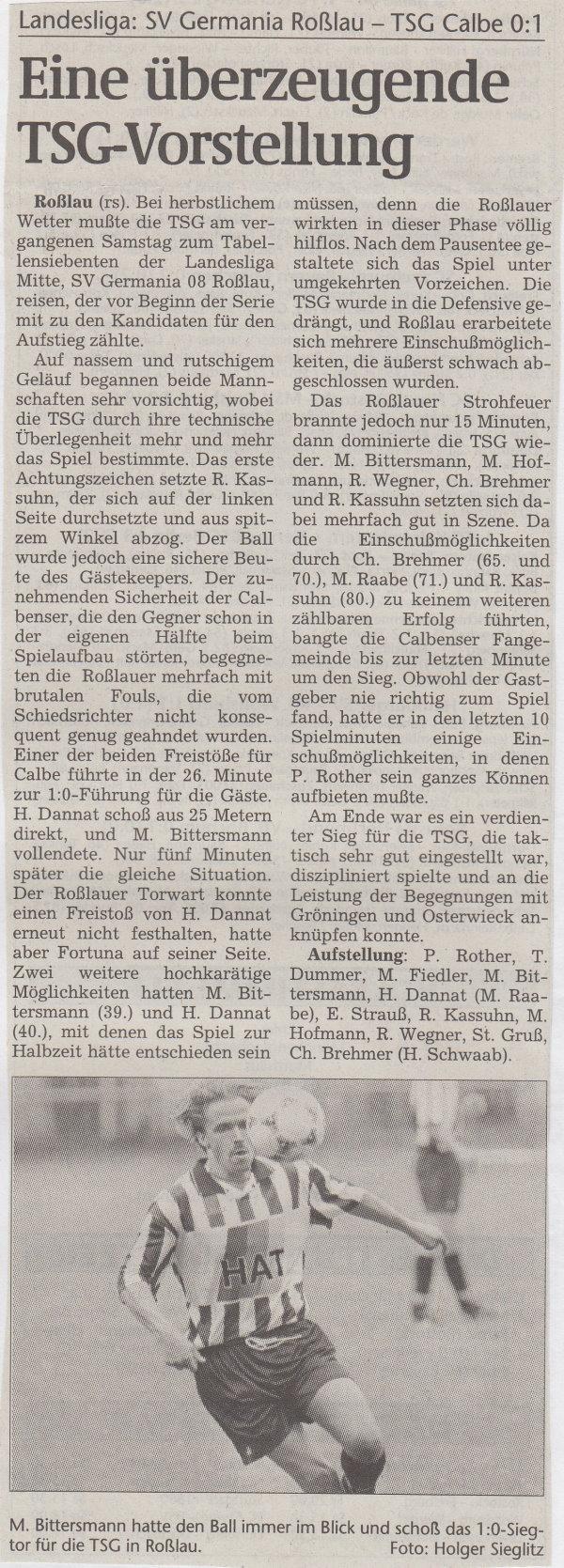 Volksstimme-Bericht vom 12. September 1998.