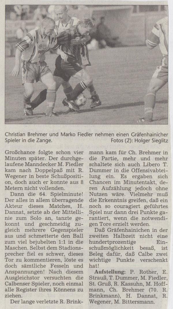 Volksstimme-Bericht vom 19. September 1998 (Teil 2).