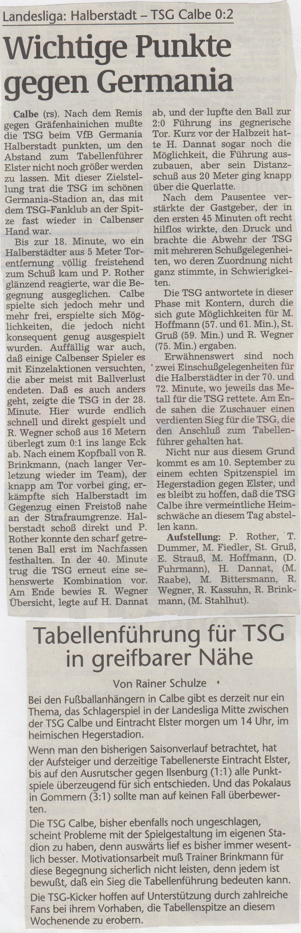 Volksstimme-Bericht vom 26. September 1998.
