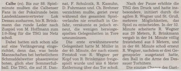 Volksstimme-Bericht vom Pokalspiel des 03. Oktober 1998 (Teil 1).