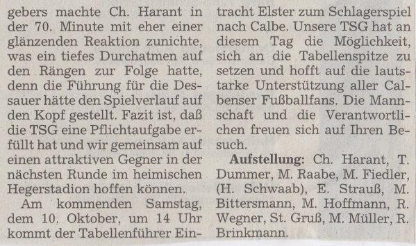 Volksstimme-Bericht vom Pokalspiel des 03. Oktober 1998 (Teil 2).