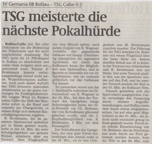 Volksstimme-Bericht vom Pokalspiel des 31. Oktober 1998 (Teil 1).