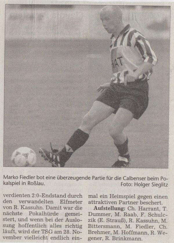 Volksstimme-Bericht vom Pokalspiel des 31. Oktober 1998 (Teil 2).