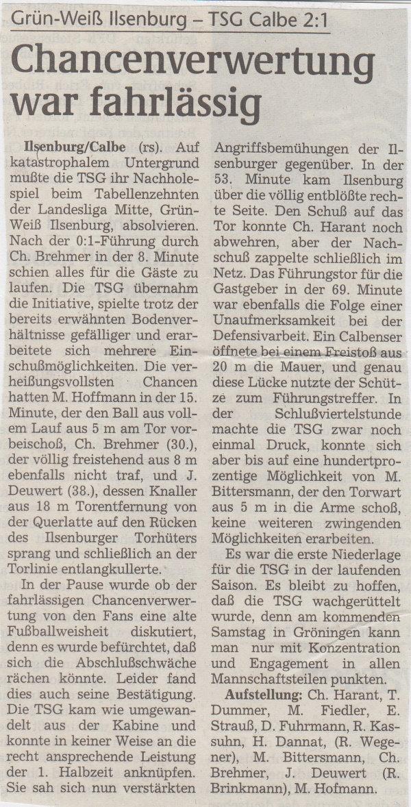Volksstimme-Bericht vom 07. November 1998.
