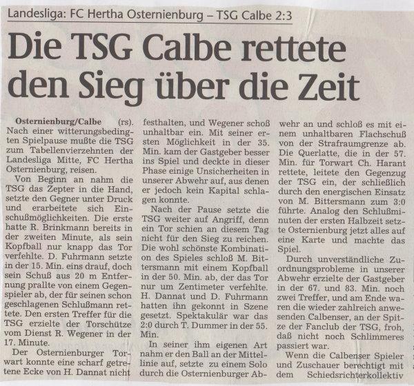 Volksstimme-Bericht vom 14. November 1998 (Teil 1).