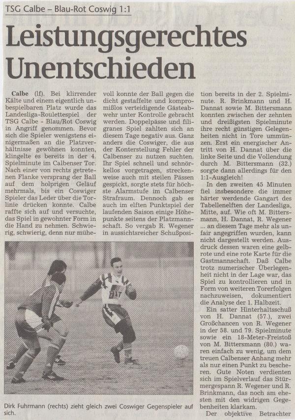 Volksstimme-Bericht vom 21. November 1998 (Teil 1).