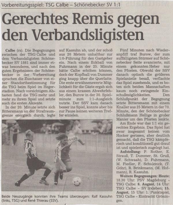Volksstimme-Bericht vom Vorbereitungsspiel vor dem Saisonauftakt (Teil 1).