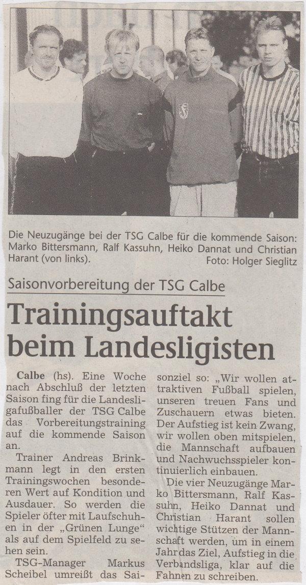 Volksstimme-Bericht vom Saisonauftakt der TSG Calbe zur Saison 1998/1999 in der Landesliga Mitte.