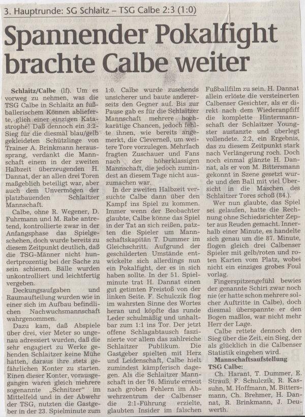 Volksstimme-Bericht von der 3. Hauptrunde im Landespokal. (Überschrift).