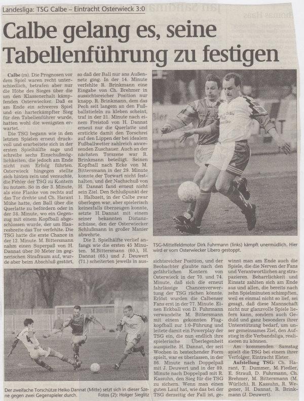 Volksstimme-Bericht vom Spiel des 20. Februar 1999.