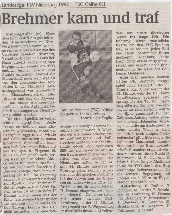Volksstimme-Bericht vom Spiel des 27. Februar 1999.