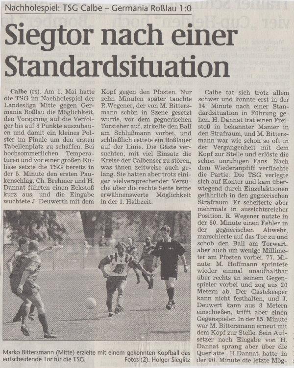 Volksstimme-Bericht vom Spiel des 06. März 1999 (Teil 1).