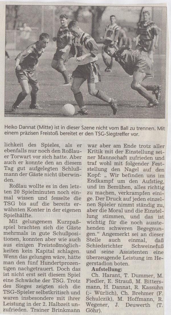 Volksstimme-Bericht vom Spiel des 06. März 1999 (Teil 2).