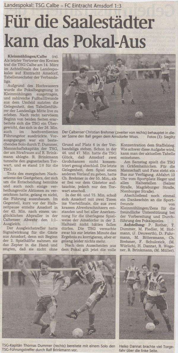 Volksstimme-Bericht vom Pokalspiel des 13. März 1999.