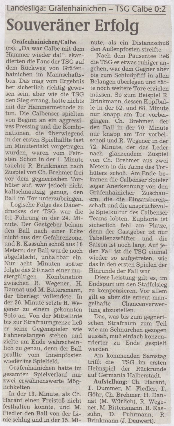 Volksstimme-Bericht vom Spiel des 20. März 1999.