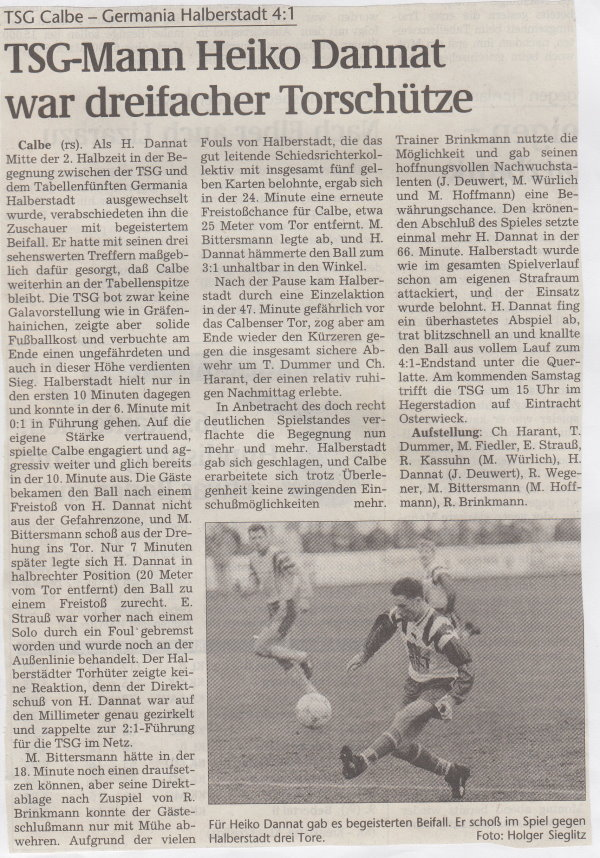 Volksstimme-Bericht vom Spiel des 27. März 1999.