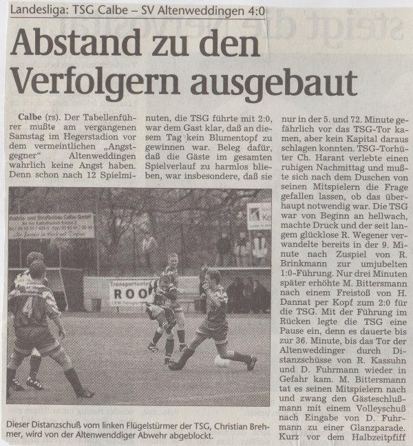 Volksstimme-Bericht vom Spiel des 17. April 1999 (Teil 1).
