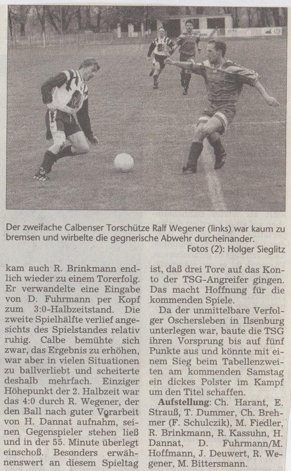 Volksstimme-Bericht vom Spiel des 17. April 1999 (Teil 2).