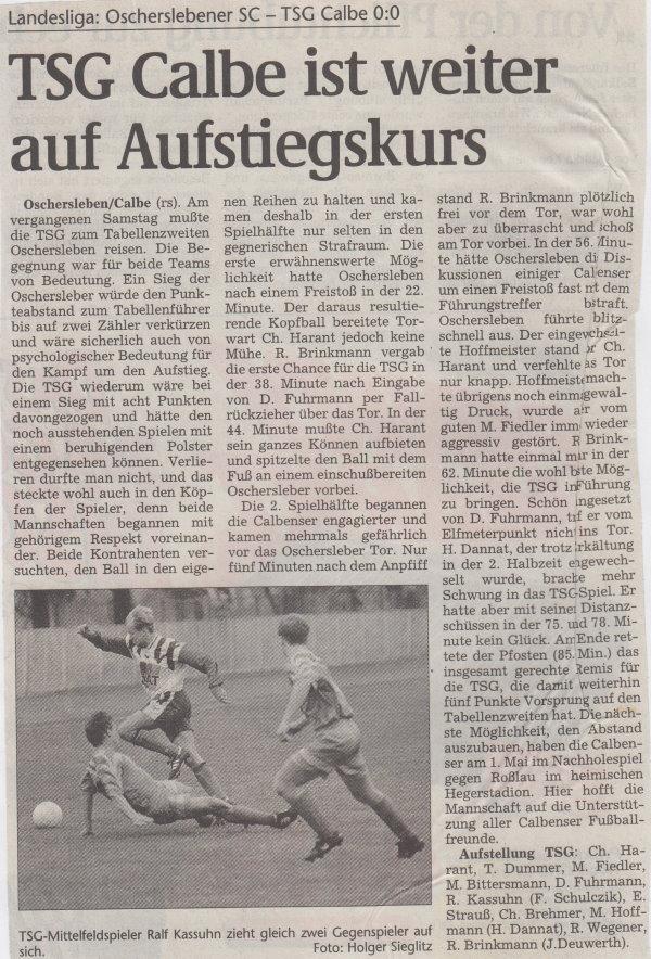 Volksstimme-Bericht vom Spiel des 24. April 1999.