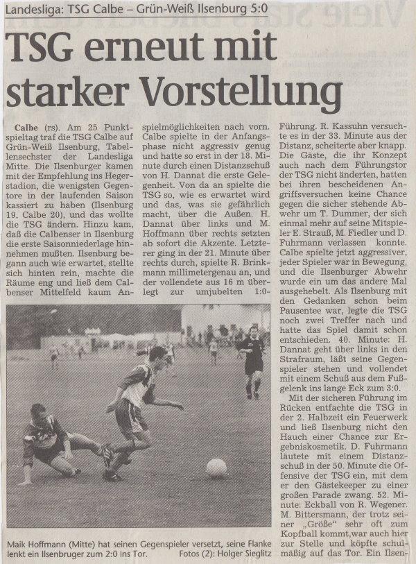 Volksstimme-Bericht vom Spiel des 08. Mai 1999 (Teil 1).
