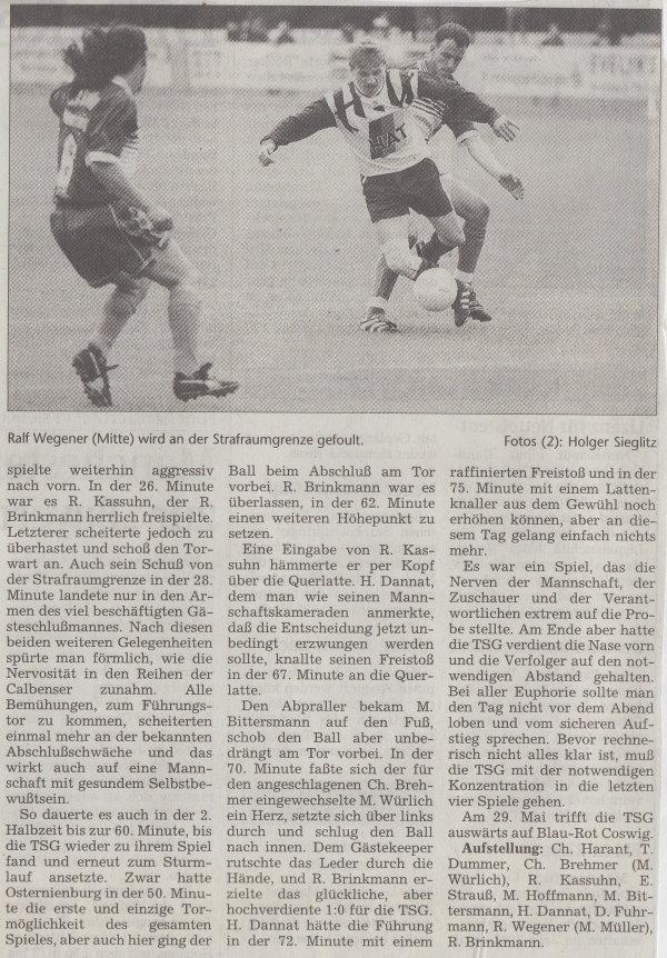 Volksstimme-Bericht vom Spiel des 15. Mai 1999 (Teil 2).