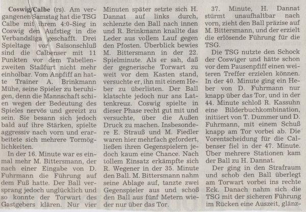 Volksstimme-Bericht vom Spiel des 29. Mai 1999 (Teil 1).