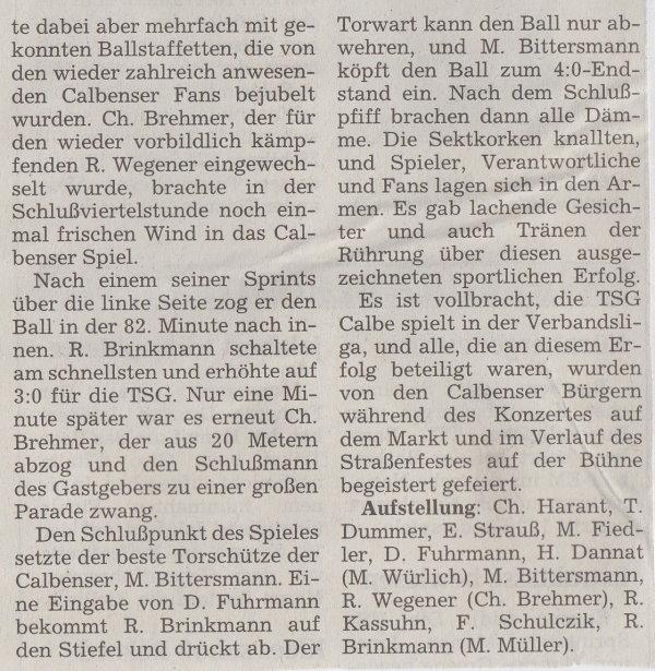 Volksstimme-Bericht vom Spiel des 29. Mai 1999 (Teil 2).