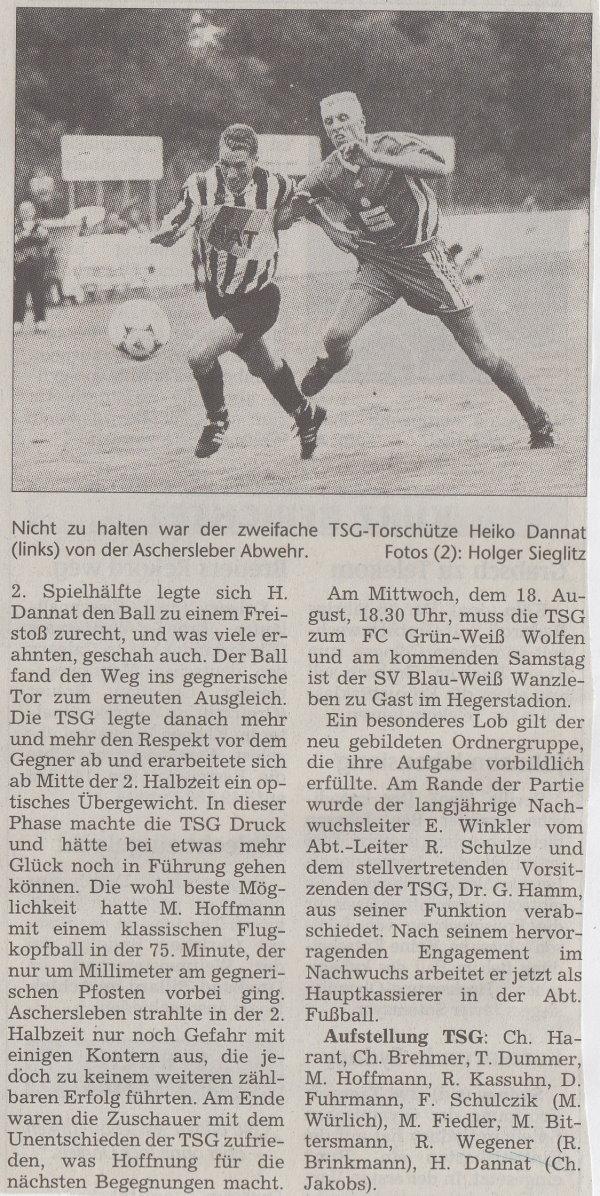 Volksstimme-Bericht zum Spiel vom 14. August 1999 (Teil 2).