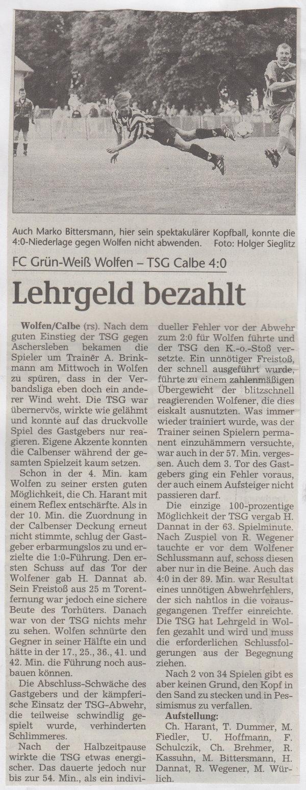 Volksstimme-Bericht zum Spiel vom 14. August 1999 (Teil 1).