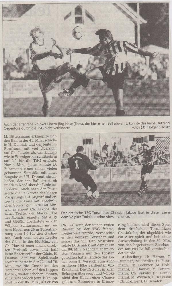 Volksstimme-Bericht zum Spiel vom 18. August 1999 (Teil 2).
