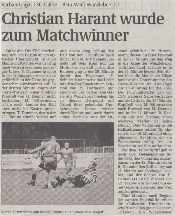 Volksstimme-Bericht zum Spiel vom 21. August 1999 (Teil 1).