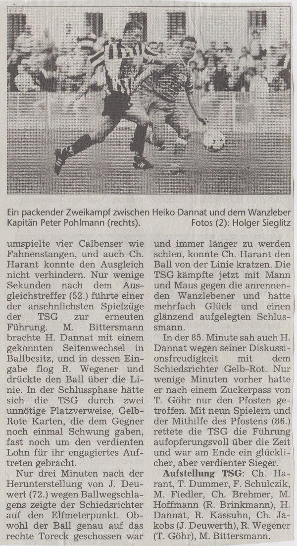 Volksstimme-Bericht zum Spiel vom 21. August 1999 (Teil 2).