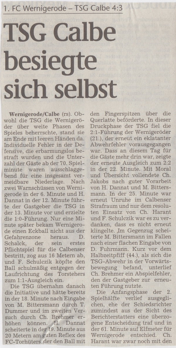 Volksstimme-Bericht zum Spiel vom 28. August 1999 (Teil 1).