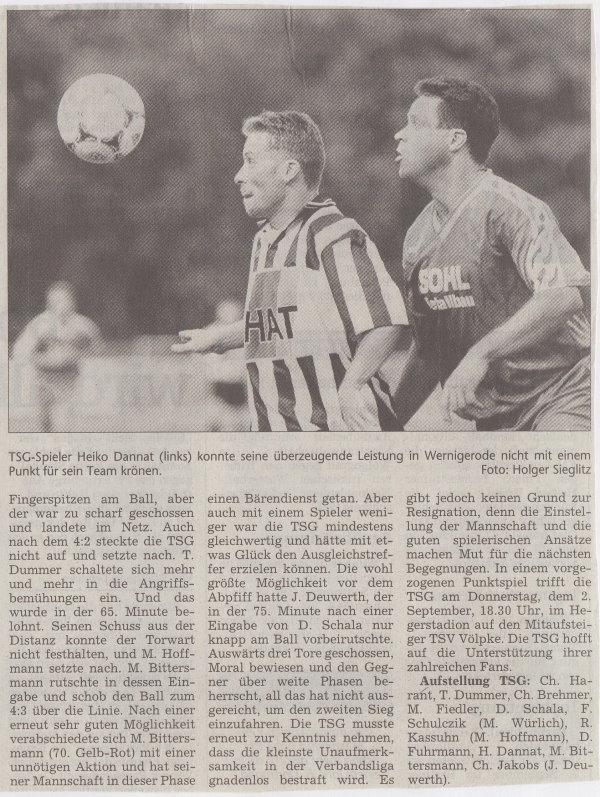 Volksstimme-Bericht zum Spiel vom 28. August 1999 (Teil 2).