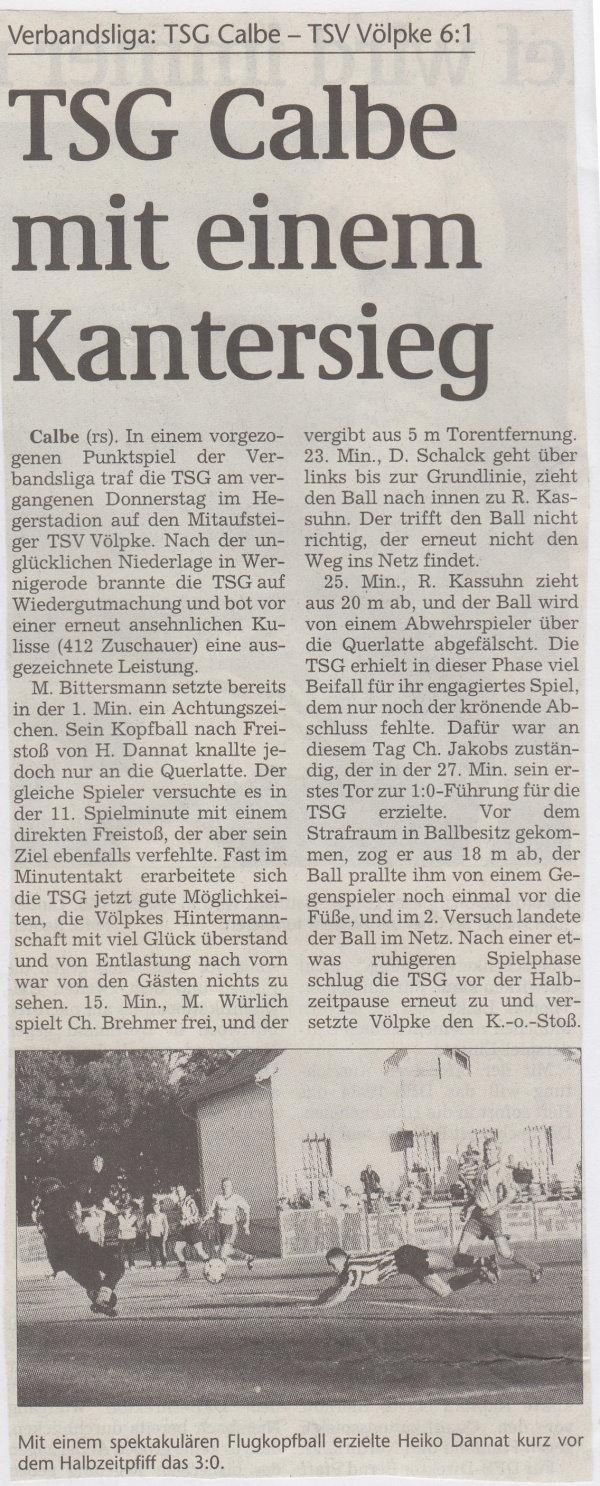Volksstimme-Bericht zum Spiel vom 04. September 1999.