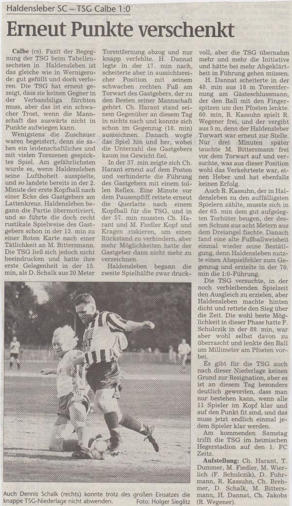 Volksstimme-Bericht zum Spiel vom 11. September 1999.