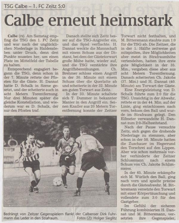 Volksstimme-Bericht zum Spiel vom 18. September 1999 (Teil 1).