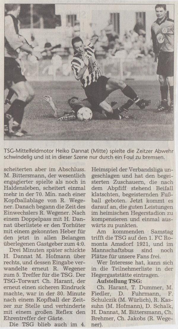 Volksstimme-Bericht zum Spiel vom 18. September 1999 (Teil 2).