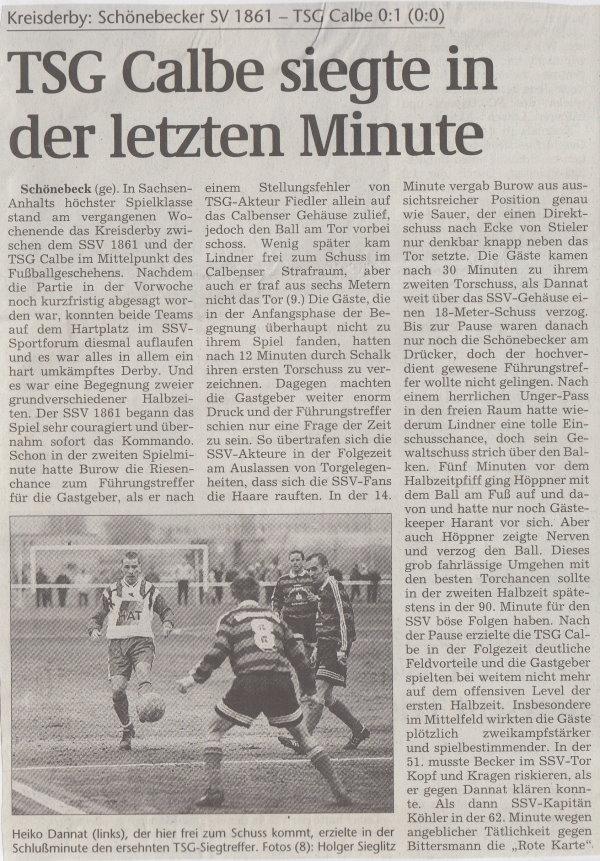 Volksstimme-Bericht zum Spiel vom 20. September 1999 (Teil 1).