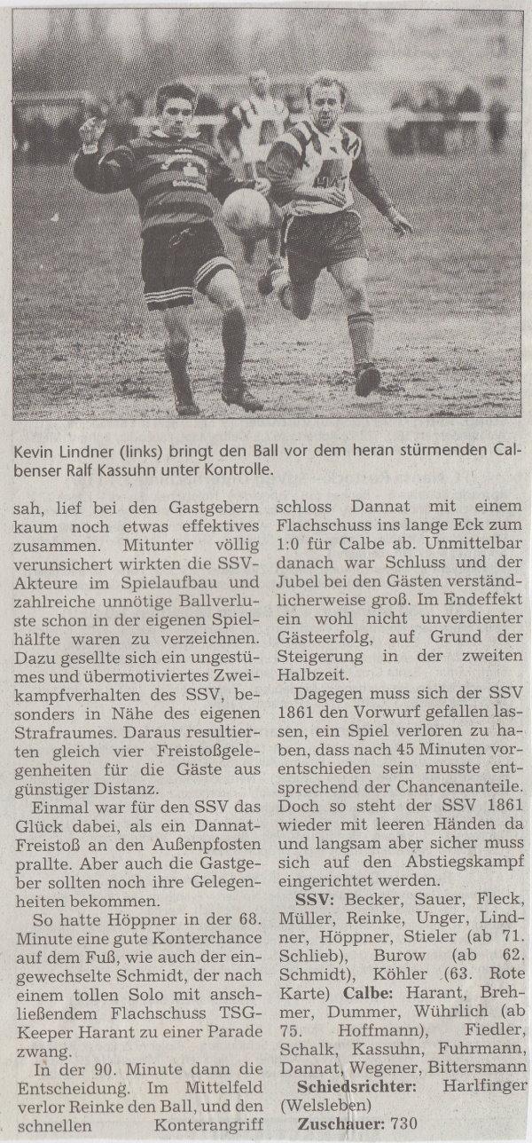 Volksstimme-Bericht zum Spiel vom 20. September 1999 (Teil 2).