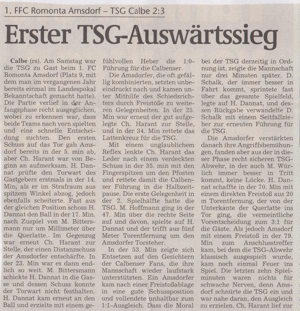 Volksstimme-Bericht zum Spiel vom 25. September 1999 (Teil 1).