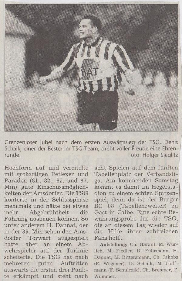 Volksstimme-Bericht zum Spiel vom 25. September 1999 (Teil 2).