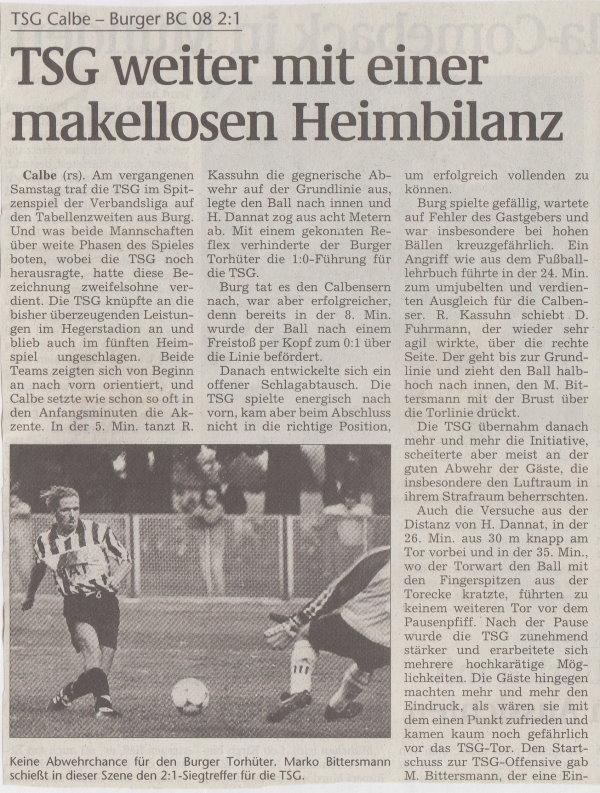 Volksstimme-Bericht zum Spiel vom 02. Oktober 1999 (Teil 1).