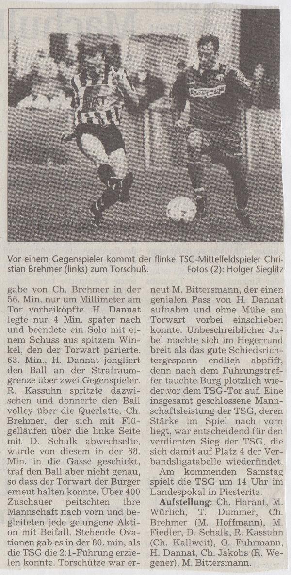 Volksstimme-Bericht zum Spiel vom 02. Oktober 1999 (Teil 2).