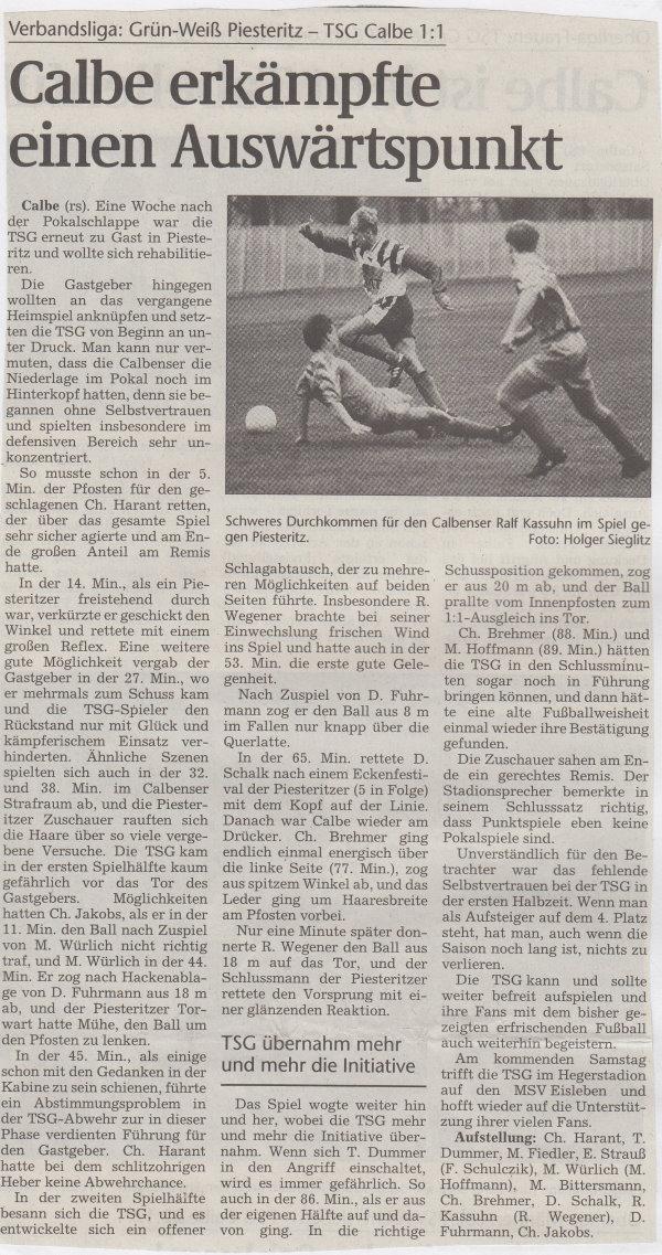 Volksstimme-Bericht zum Spiel vom 16. Oktober 1999.