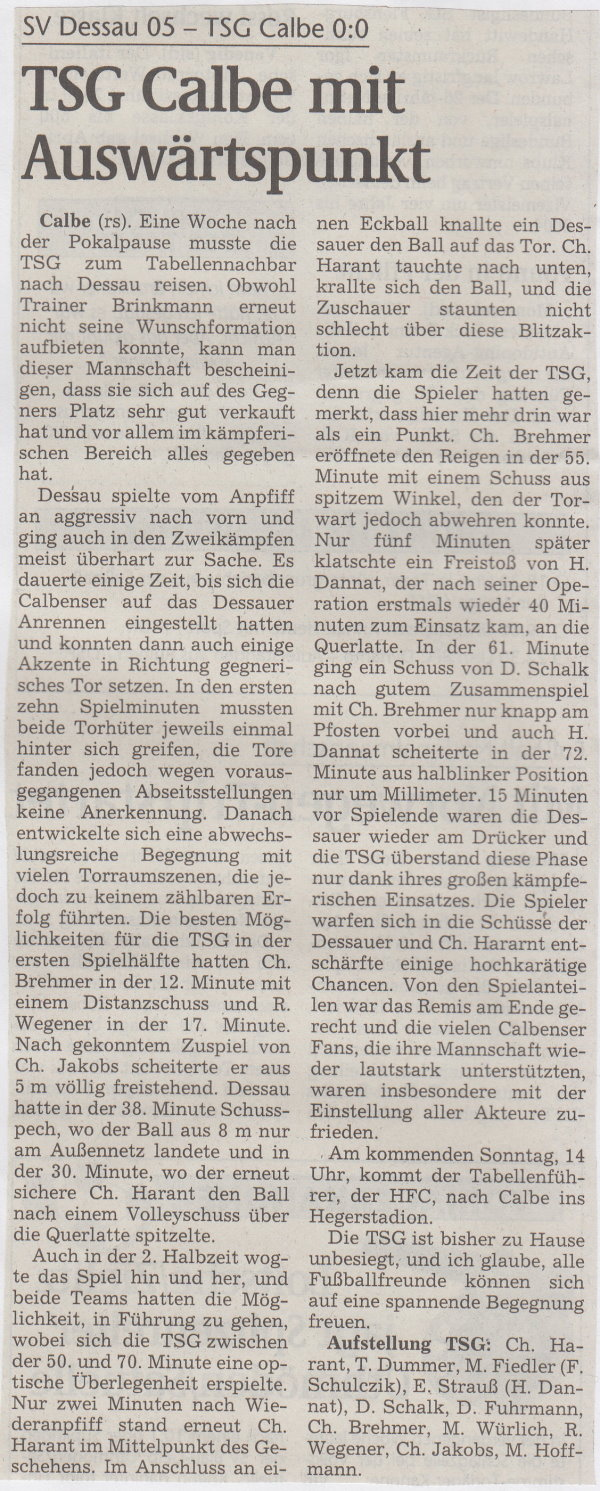 Volksstimme-Bericht zum Spiel vom 06. November 1999.