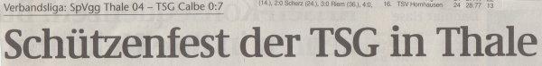 Volksstimme-Bericht zum Spiel vom 04. Dezember 1999 (Überschrift).