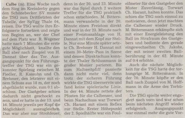 Volksstimme-Bericht zum Spiel vom 04. Dezember 1999 (Teil 1).