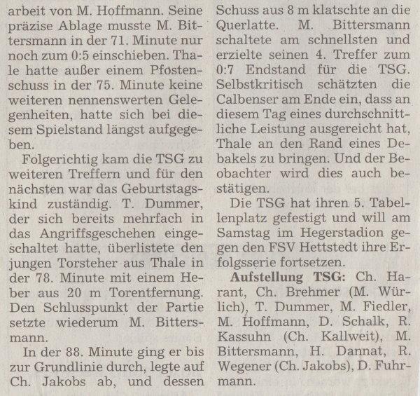 Volksstimme-Bericht zum Spiel vom 04. Dezember 1999 (Teil 2).